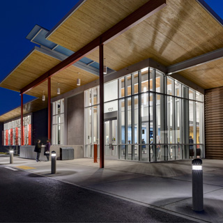 Eastside Community Center in Tacoma, seen from outside at night.