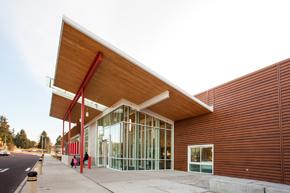 Cross-Laminated-Timber CLT at entry to Eastside Community Center Pool in Tacoma Washington